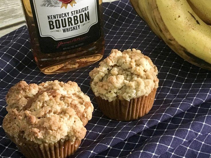 Bourbon Triple Nut Banana Muffins #Recipe