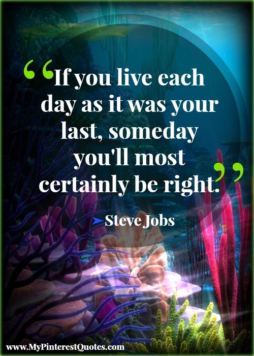 """""""If you live as if it was your last day..."""" Steve Jobs quote."""