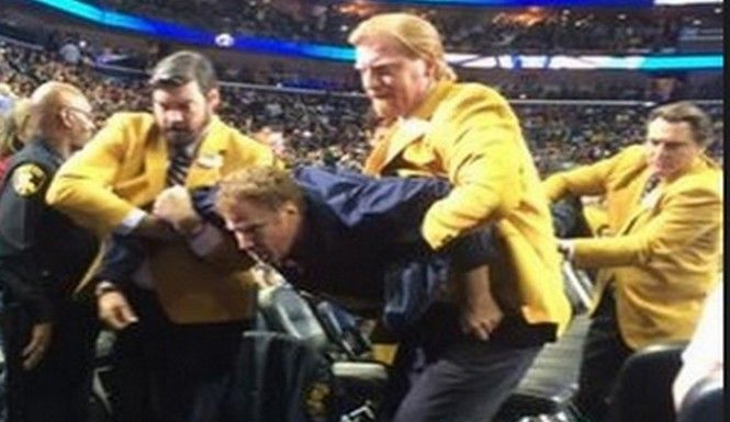 Will Ferrell crashed the floor of the Pelicans and Lakers game on Wednesday night, and pegged a cheerleader in the face with a basketball.