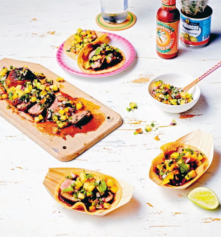 Duck breast tacos with nectarine pico de gallo recipe from Taqueria by Paul Wilson | Cooked