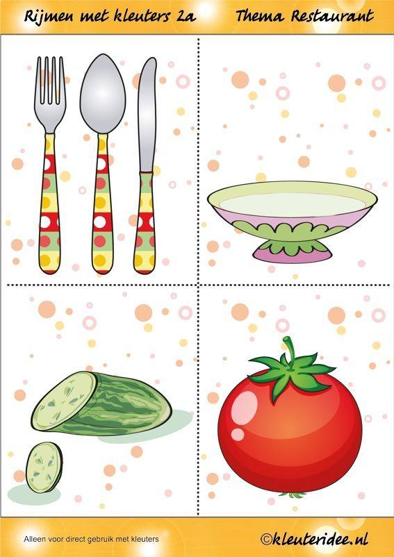 Rijmen 2a met kleuters, thema restaurant, juf Petra van kleuteridee, free printable