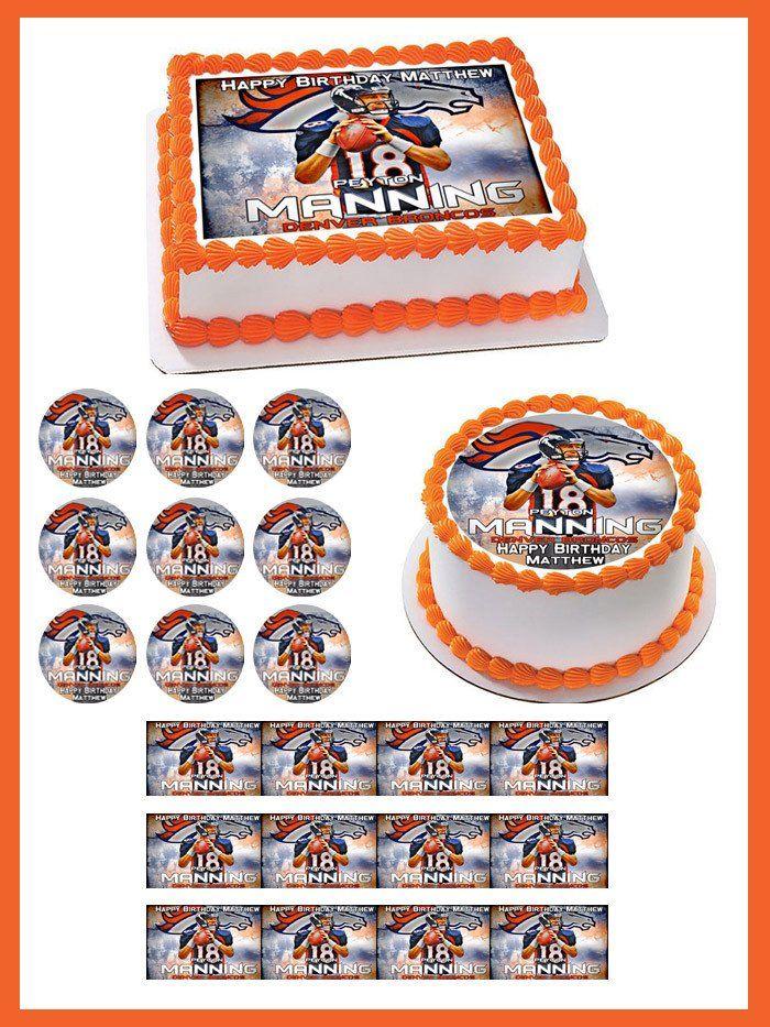 Peyton Manning Denver Broncos Edible Birthday Cake Topper OR Cupcake Topper, Decor - Edible Prints On Cake (Edible Cake &Cupcake Topper)