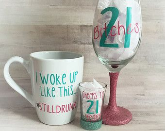 21st Birthday Wine Glass Coffee Mug & Shot Glass 3pc by OhSoVinyl
