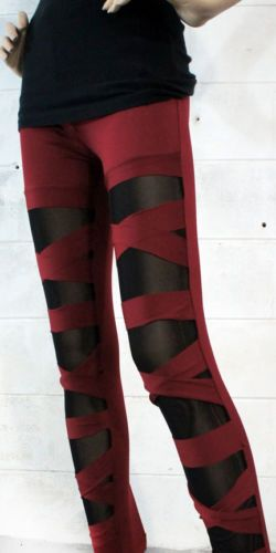 Criss Cross Leggings Look Cut Out Ripped Torn Stretchy Pant Gothic Sheer Cutout | eBay