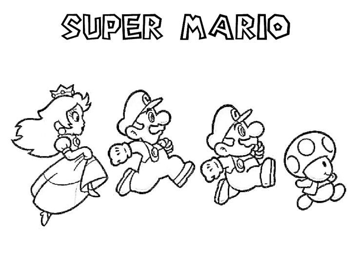 mario brothers coloring page printable coloring pages