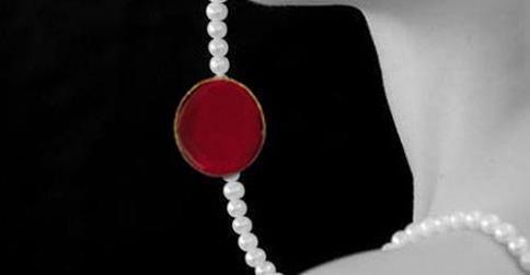 #kolie #necklace #pearls #margaritaria #red #gold #kokkino #xruso #woman