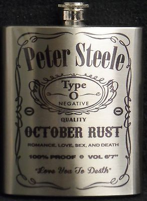 PETER STEELE TYPE O NEGATIVE 7 OUNCE STEEL FLASK GREAT GIFT FREE SHIPPING