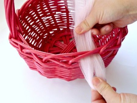 Tie Tulle - great idea to fill with diapers and baby stuff for baby shower too !