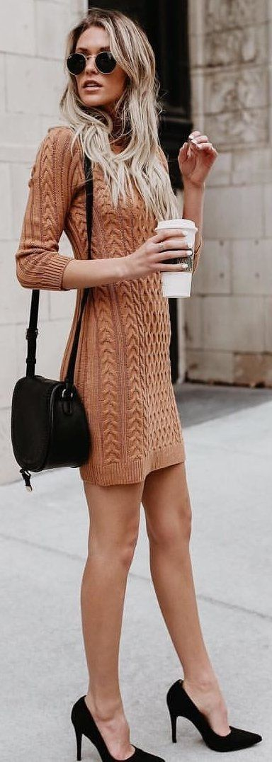 #winter #outfits brown knitted long-sleeve sheath dress