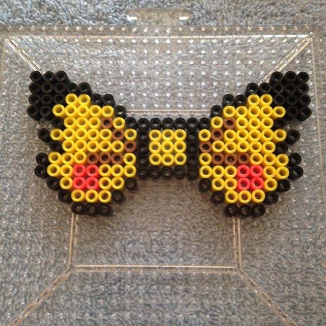 Pikachu bow perler beads by cinnomon_9241