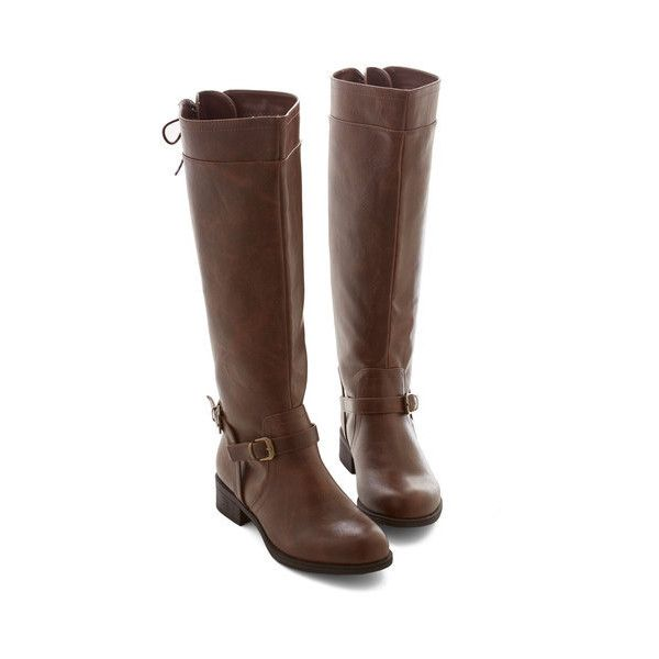 Steampunk Steadfast Style Boot ($17) ❤ liked on Polyvore featuring shoes, boots, steampunk, boot - bootie, brown, flat boot, ankle boots, knee high buckle boots, lace up boots and brown flat boots