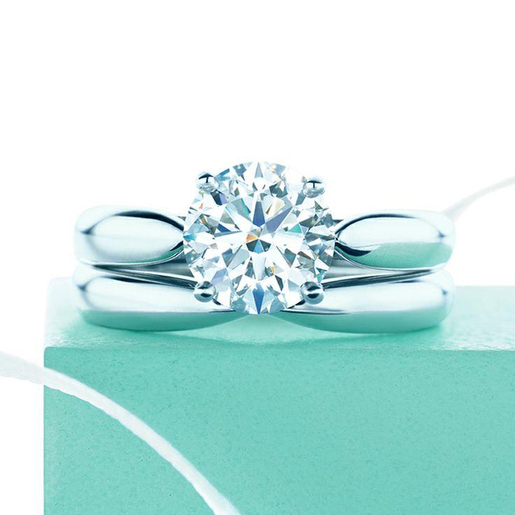 A harmonious couple. Tiffany Harmony™ engagement ring and wedding band. #TiffanyPinterest #TiffanyWedding #Diamond