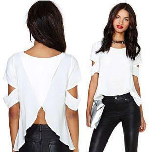 Encontrar Más Blusas y Camisas Información acerca de Mujeres gasa blusas de manga corta para sueltas camisas casuales 2015 nuevo blanco de verano el envío y la gota libre vendedor caliente AA015, alta calidad Blusas y Camisas de WBJ'S STORE en Aliexpress.com