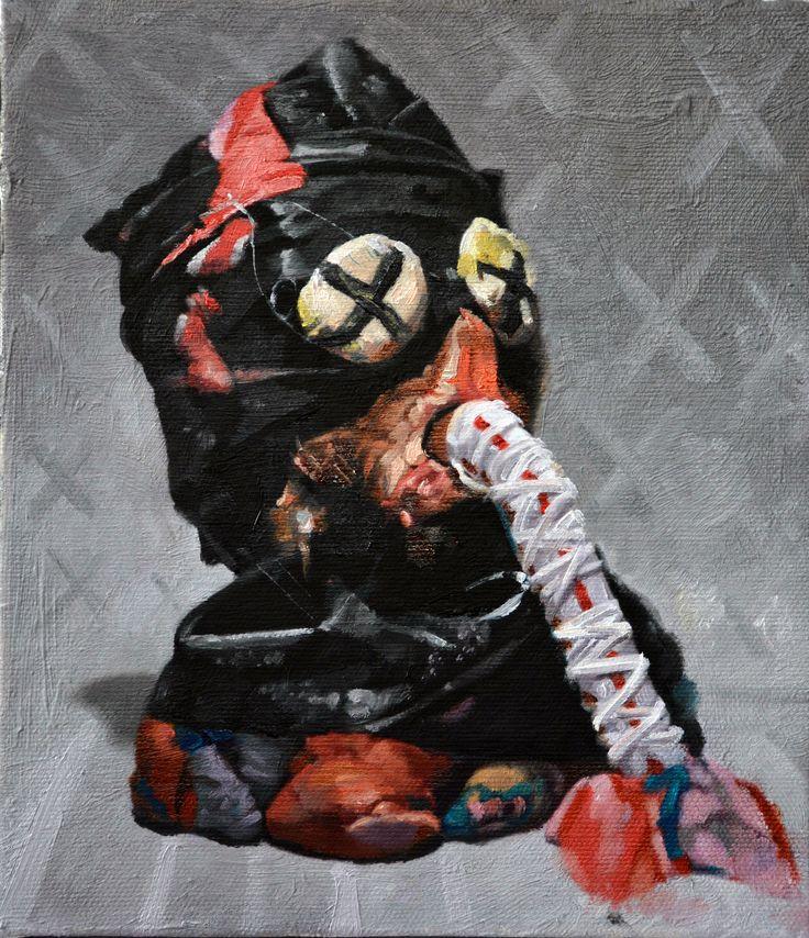 JONNY GREEN - Bottom Feeder - oil on canvas on panel 21 x 18 cm