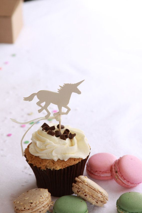 Unicorn Party Decorations Cupcake Picks  First Birthday by EnFete