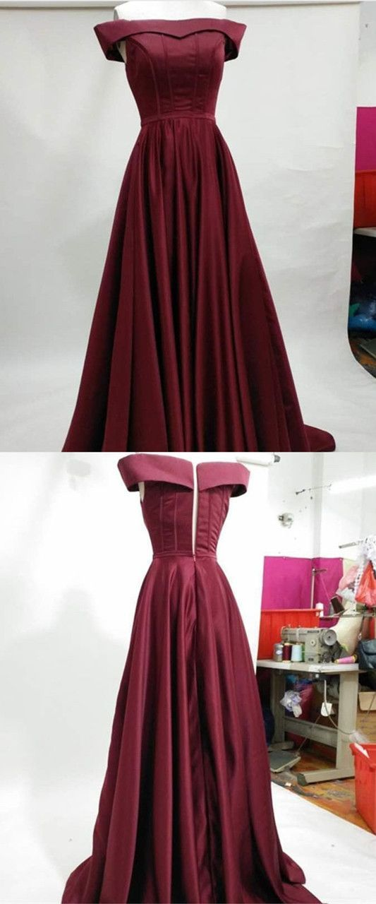 Burgundy Prom Dresses,Satin Evening Gowns,Off The Shoulder Prom Dress,Long Party Dress