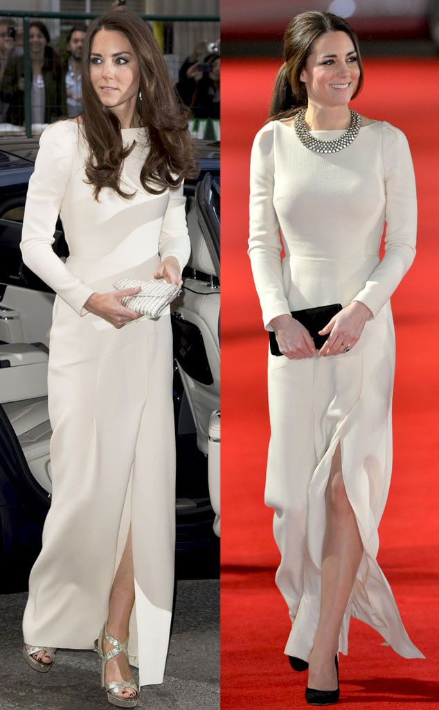 Kate Middleton recycles a white Roland Mouret gown for the Mandela premiere in London. So beautiful! #fashion