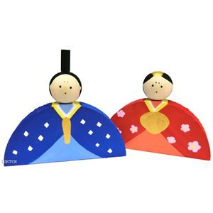 Hinamatsuri 雛祭り. Use half a paper plate to make the body and stamp out a circle for the head.