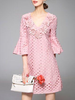Floral Sexy Frill Sleeve V Neck H-line Mini Dress