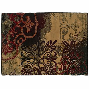 Campbell Red Brown Medallion Area Rug 5x7