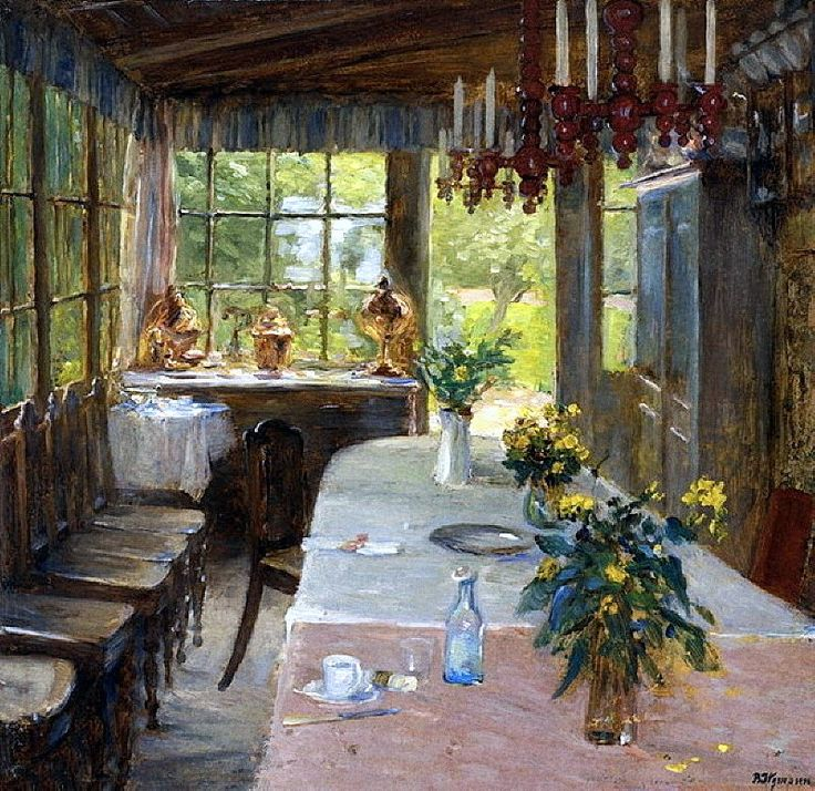 Bertha Wegmann Here is what separates the artist and lover of art from most other people. The average person sees a flat surface of pretty lines and colors. Artists and their friends see an open window. They can step through that window into the scene. In their minds, they are inside the painting. Thoughts by Roger Carrier