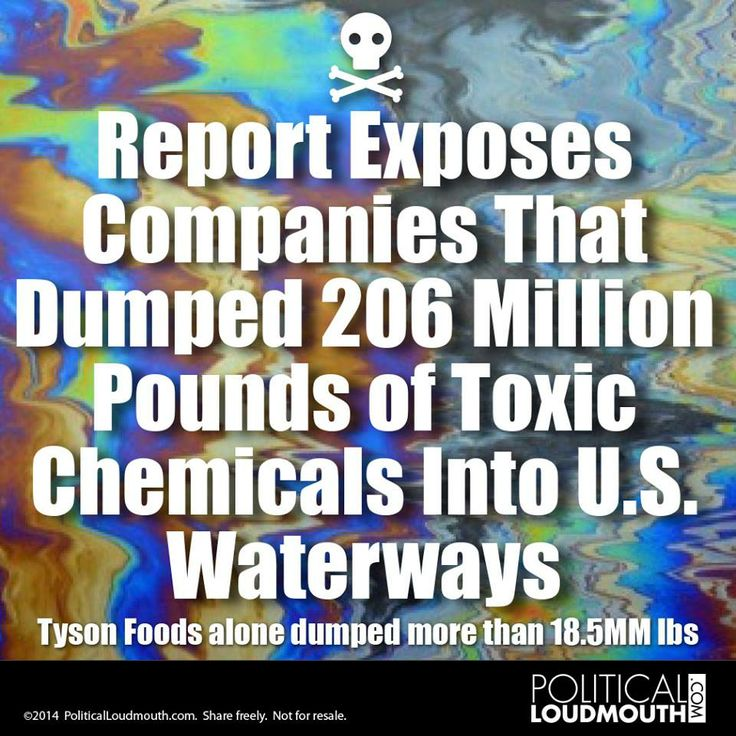 """""""Of the top 10 parent-companies releasing the largest amount of toxins, four are corporate agribusiness companies: Tyson, Cargill Inc., Perdue Farms Inc. and Pilgrims Pride Corp.""""  http://ecowatch.com/2014/06/23/toxic-chemicals-waterways/"""