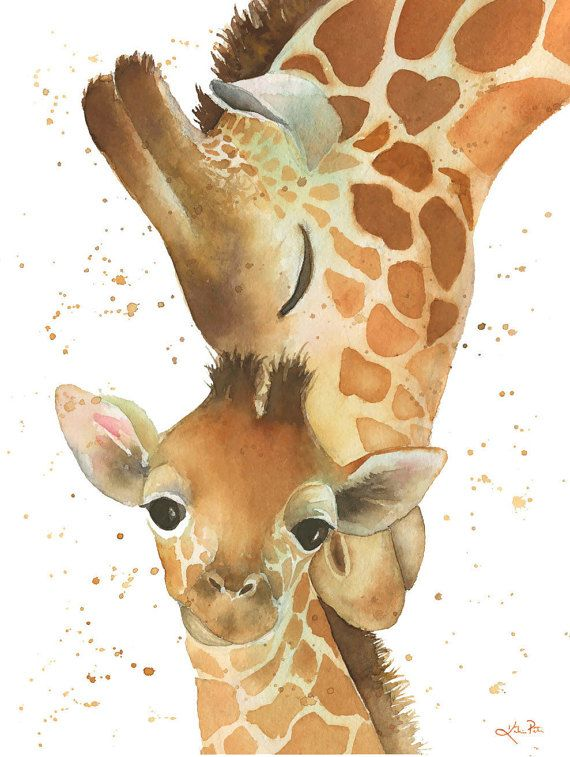 Giraffe Print, mom and baby. Print of my original watercolor painting. My Sweet Baby, Perfect for a giraffe baby shower. Katrina Pete
