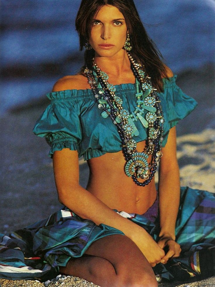 """The Siren Song of Turquoise Delights"" Model: Stephanie Seymour Photographer: Gilles Bensimon Stylist: Loren Laney"