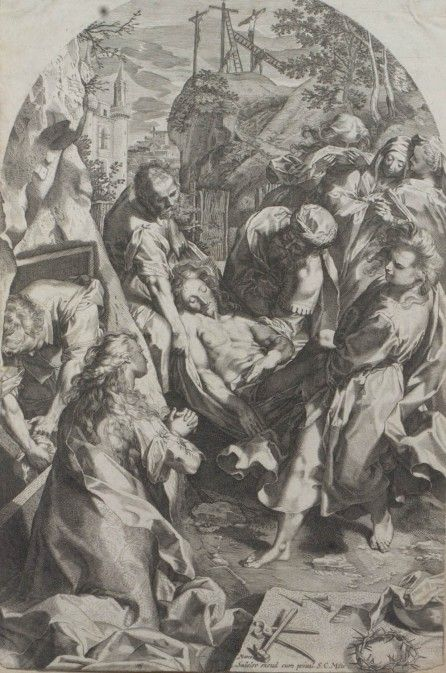 The Deposition from the Cross (1595) Engraving of the Gelonch Viladegut Collection