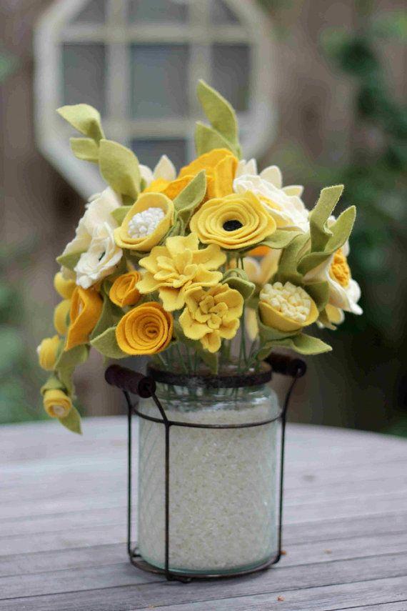 Lovely Fall Colors Felt Flower Arrangement by TheFeltFlorist, $110.00