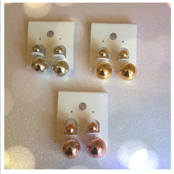 PRICE DROP ‼️Peekaboo Double Sided Earrings Peekaboo earrings balls come in three colors. silver, gold and rose gold. Please comment which finish you want . Jewelry Earrings