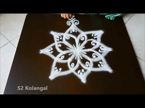 Drawing simple rangoli designs ( for Diwali ) ( star kolam ) - YouTube