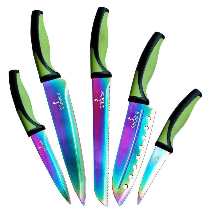 SiliSlick Titanium Coated Stainless Steel Rainbow Blades - 5pc Knife Set