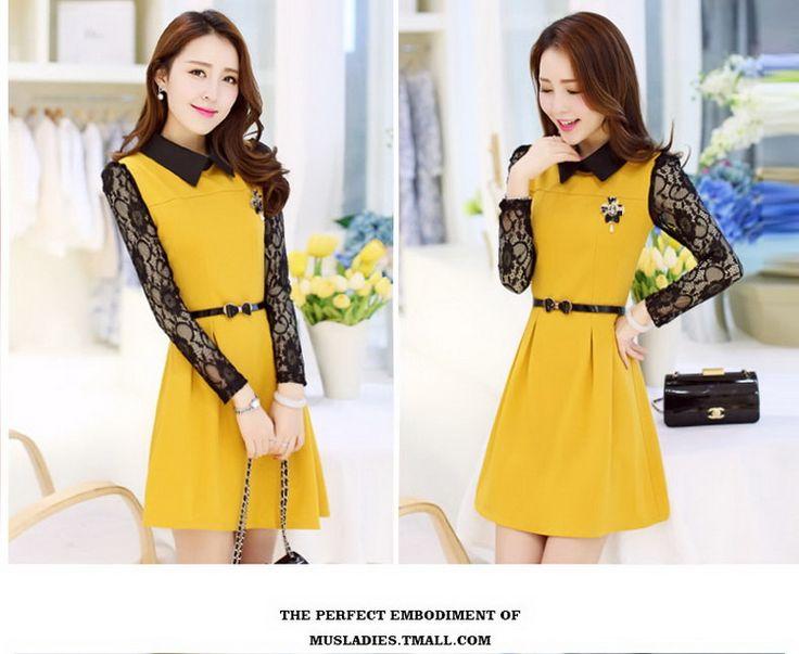 2016 primavera nuevos astilleros coreanos parte larga de las mujeres de primavera y otoño del resorte del vestido de la falda de encaje de manga larga -tmall.com Lynx