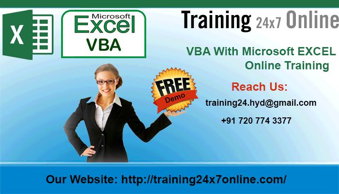 VBA with Microsoft Excel ONLINE TRAINING @ Training24x7online  http://www.training24x7online.com/courses/sas-modules/vba-ms-excel-online-training.html  Reach us : +91 720 774 3377 / training24.hyd@gmail.com  #Training24x7online is an excellent Online Portal.We are providing #online #training on #VBA with #Microsoft #Excel.Our #trainers have vast experience in this field and they are highly qualified #software #professional with dedication towards training for #VBAwithMicrosoftExcel.