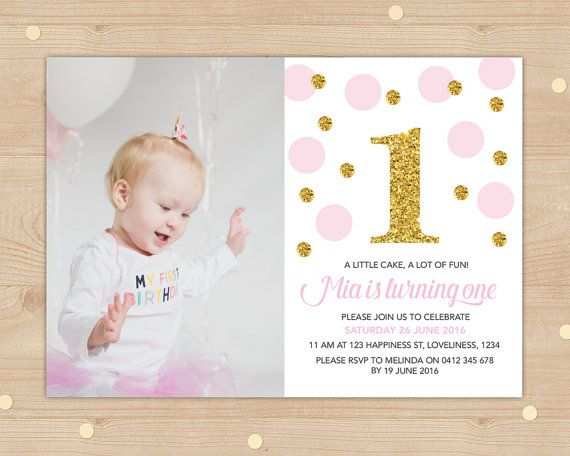 Girls gold glitter and pink confetti photo by InkandCardDesigns
