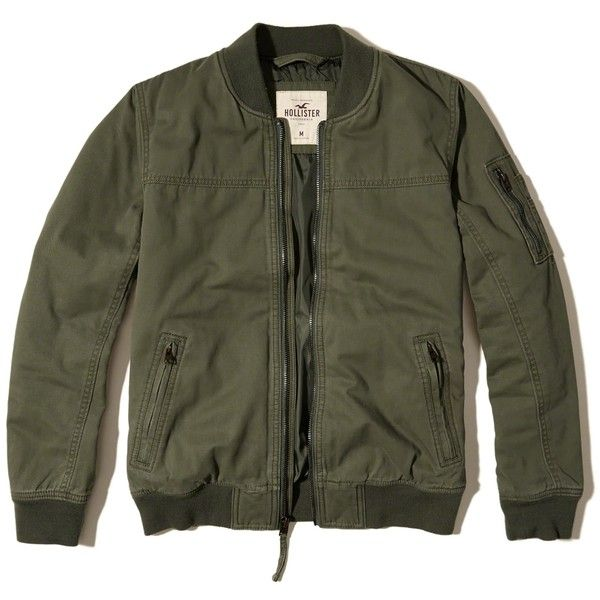 Hollister Twill Bomber Jacket ($50) ❤ liked on Polyvore featuring men's fashion, men's clothing, men's outerwear, men's jackets, olive, mens olive jacket, mens olive green military jacket, mens army green jacket, mens military jacket and mens olive green jacket