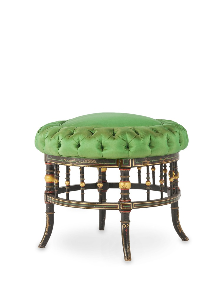 French, Esthetic Influence, Button Tufted Green Silk, Ebonized And  Polychrome Decorated Frame