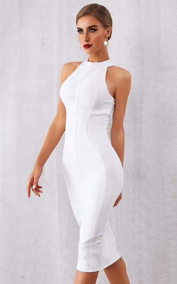 d233b81fe3d5 White Midi Dress Party Bodycon Dress Perfect bodycon bandage dress for your  party Excellent quality of the fabric This dress would shape your body to  look ...