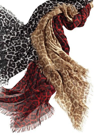 Michael Kors animal print cashmere & wool scarfs.