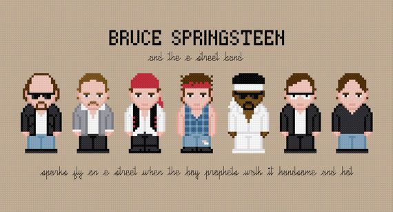 Bruce Springsteen and the E Street Band - Digital PDF Cross Stitch Pattern (only problem is Patti is missing :( )