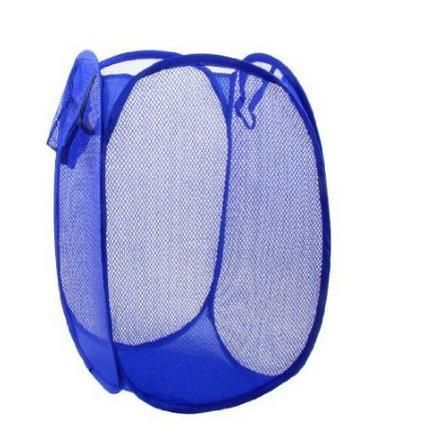 Складной Дом Складной Синий Сетчатый Дизайн Одежды Хранения Корзина для Белья Прачечная Хампера Корзины сетки
