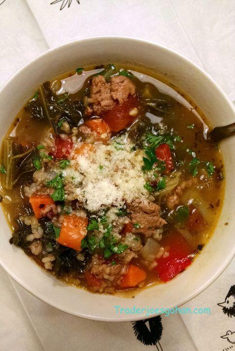 トレジョのケールと玄米の野菜スープ レシピ Trader Joe's Kale