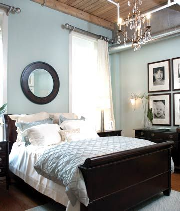 Bedroom//Black and Blue; The ceiling wood color is about the color of our bed and then we have some mixed cherry pieces. The wall color is similar to what we have currently. I like the geometry and substance of the rest of the room