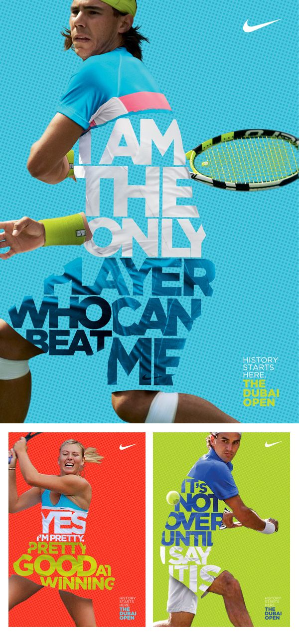 Nike Tennis Posters by Leo Rosa Borges  Love the concept of using words in place of their tennis uniforms.