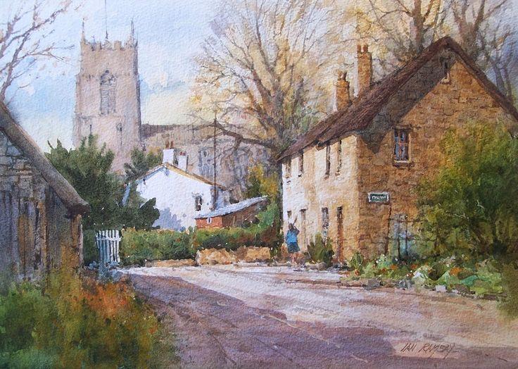 "Ian Ramsay Watercolors Chipping Warden, Northhampton, England 9 1/4"" x 13 1/4"" image watercolor"
