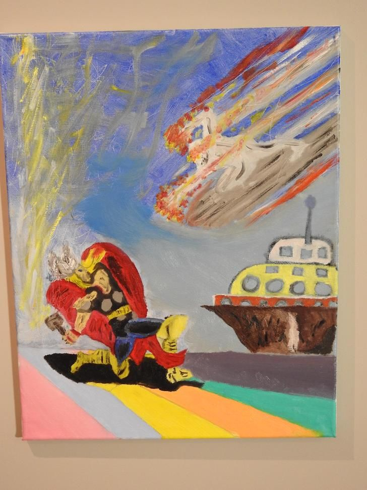 Thor vs Silver Surfer, oil, 16x20