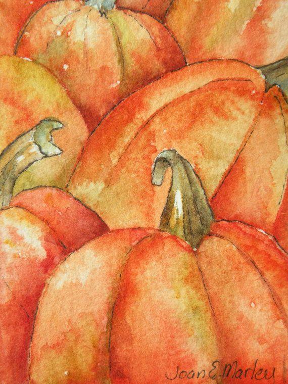 Pumpkins Watercolor Artist Trading Card by Marleyart on Etsy, $12.99