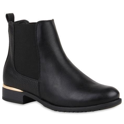 Details zu Damen Stiefeletten Chelsea Boots London Style Schuhe 77911 New  Look