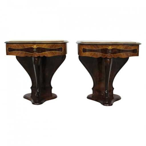 Lot: Pair of Italian Nouveau Marble Top Nightstands, Lot Number: 0102, Starting Bid: $75, Auctioneer: Dutch Auction Sales, Auction: Fine Art, Antiques & Mid Century Modern Sale, Date: February 24th, 2018 PST